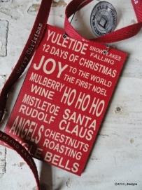 """Kerst label / Houten hanger tekst """"Yuletide snow......"""""""