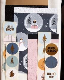 Inpakpapier setje Kerst | twinkeling stars | 33stk