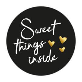 Sticker sluitzegel rond zwart - sweet things inside | 45mm | 10stk