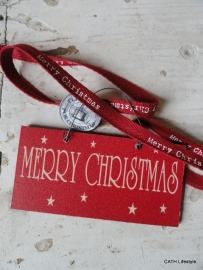 "kerst label / Houten hanger tekst ""Merry Christmas"""
