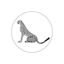 Sticker sluitzegel | luipaard - cheeta | zittend - zwart wit - 15 stk