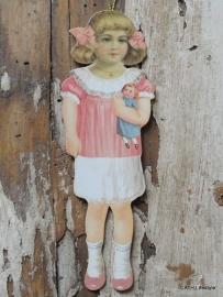 Nostalgishe hanger meisje in het roze