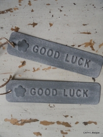 "Label / ""Good Luck""  lang grey"