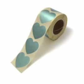 Sticker / hart metalic mintgroen / 10 stk / 5cm