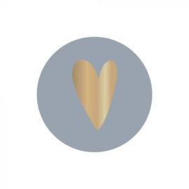 Sticker rond - ice blue - goud foil hart | 35mm | 10stk
