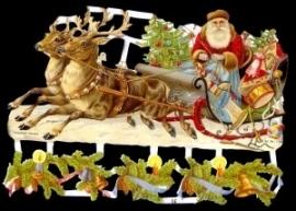 ME 7194 Poezie plaatjes Kerstman arreslee
