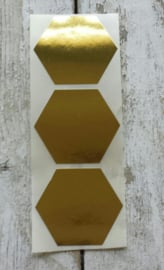 Stickers / Hexagon goud / 10stk