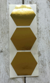 Stickers / Hexagon goud / 20stk