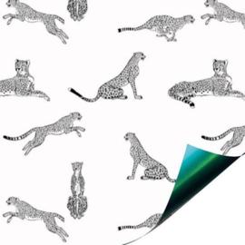 Inpakpapier / kadopapier - Luipaard zwart wit / 30cm x 1m