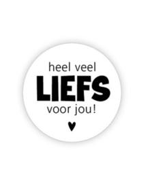Sticker rond - wit - Heel veel liefs voor jou | 35mm 10stk