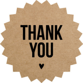 Sticker sluitzegels | ster kraft - thank you zwart hartje / 10stk