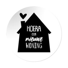 Sticker sluitzegel rond - Hoera een nieuwe woning | 45mm | 20stk