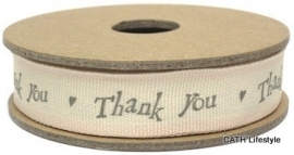"EI 3222 Band 3 meter spoel creme met roze rand ""Thank You"""