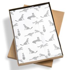 vloeipapier luipaard zwart wit / 50x70cm / 5stk