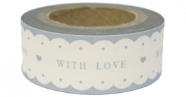 "Paper tape ""WITH LOVE"" wit met grijze tekst / EI 4750"