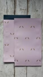 Zakjes Rendier - zacht roze 12x19cm  / 5 stk