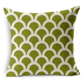 Kussenhoes geometric olive green / 45x45 cm