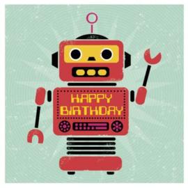 Kaart - Happy Birthday - Robot | inclusief envelop
