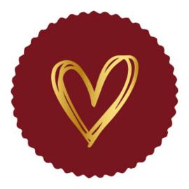 Sticker bordeau schulprand | painted hart goud | 9stk