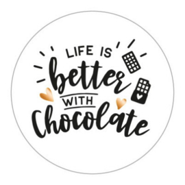 Sticker sluitzegel rond wit - Life is better with Chocolate | 45mm | 10stk