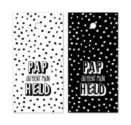 Kado label - kaartje /zwartwit | Pap je bent mijn held | 5stk
