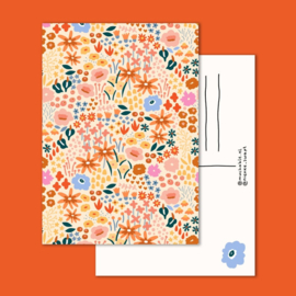 Ansichtkaart - rood - bloemen patroon