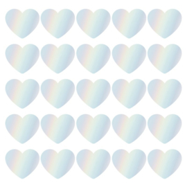 Sticker sluitzegel hartjes holografisch folie | 5cm | 10stk