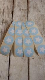 Stickers ster baby blauw wit / 20 stk