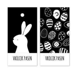 Kado label - kaartje /zwartwit | Vrolijk Pasen | 5stk
