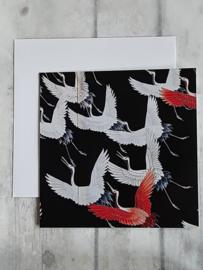 Dubbele kaart - zwart met kraanvogels