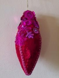 Kerst Hanger roze velours