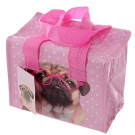 Lunch- koeltasje Roze Mopshond