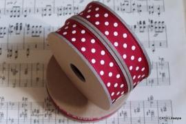 EI 3062 Band 3 meter spoel rood met creme stippen