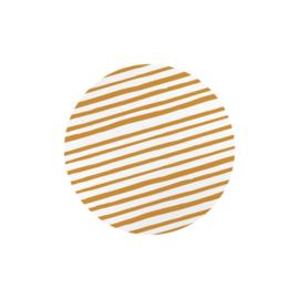 Sticker sluitzegel | rond caramel wit strepen - 20stk