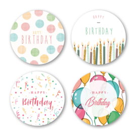 Sticker sluitzegel mix - Happy Birthday color | 40mm | 16stk