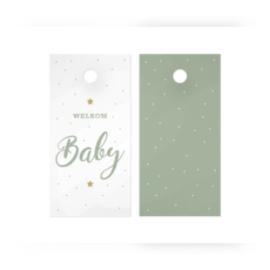 Kado label - kaartje / welkom baby  -green / 5stk