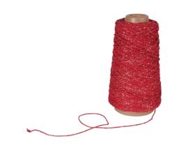 """Katoenkoord/  """"Rood met goud draad"""" streng / 10 meter"""