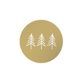 Stickers rond goud - 3 kerstboompjes   45mm   10stk