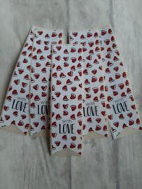 Sticker vaantje with love rode hartjes | 10stk