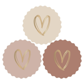 Sticker  sluitzegels | nude painted hartjes  goud- 9stk
