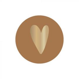Sticker sluitzegel rond - cognac - foil hart | 35 mm | 10stk