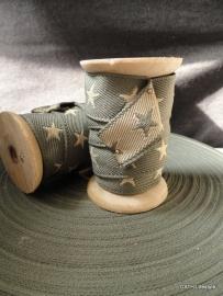 Band - geweven - grijs met sterren - 3 meter op houten klos
