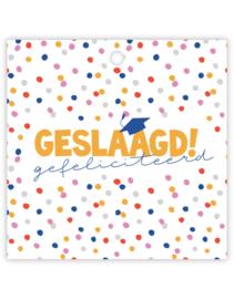 Cadeau kaartje /label - Geslaagd | dots