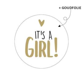 Sticker rond wit - It's a girl | 10stk