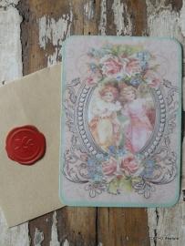 Kaart met envelop / kraft / Vintage meisjes / CE