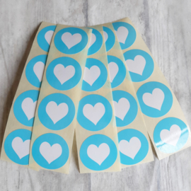 Stickers | Hart baby blauw rond | 20 stuks