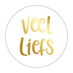 Sticker sluitzegel rond wit | veel liefs goud folie | 10 stk