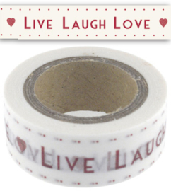 "Paper ( masking) tape / ""Live, Laugh, Love"" wit met rode tekst / EI 4705"