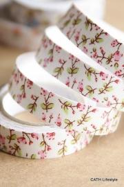 Tape / katoen met bloemen roze