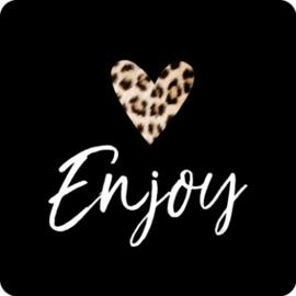 Sticker vierkant | zwart enjoy en hartje luipaard - 10stk